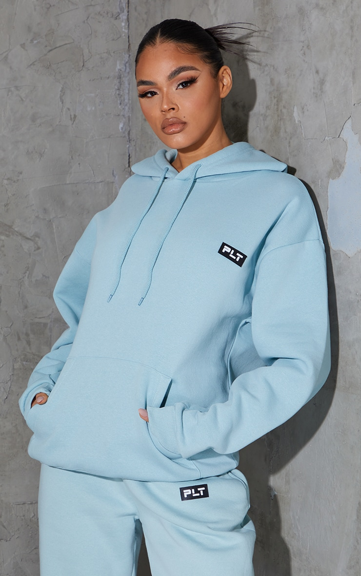 PRETTYLITTLETHING Sage Blue Badge Detail Oversized Hoodie