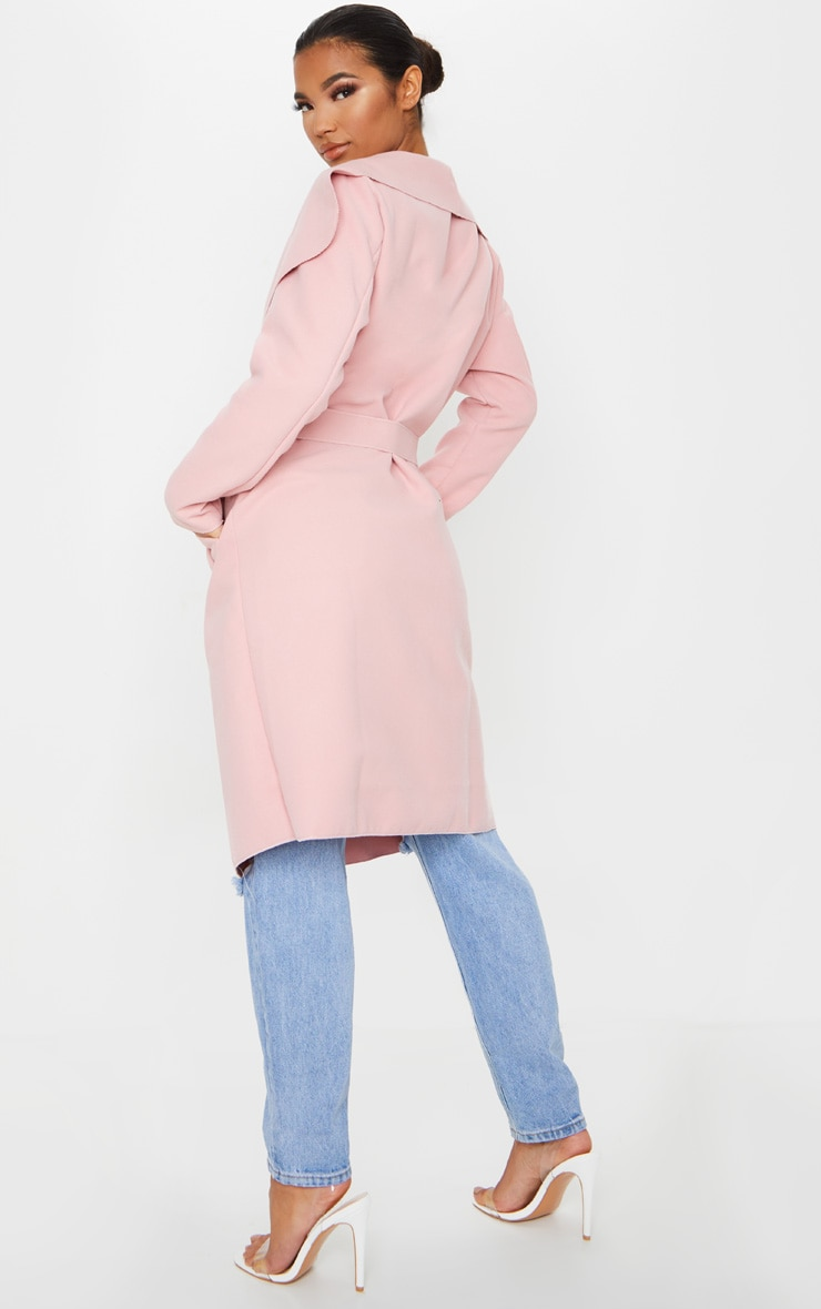 Veronica Dusty Pink Oversized Waterfall Belt Coat 2