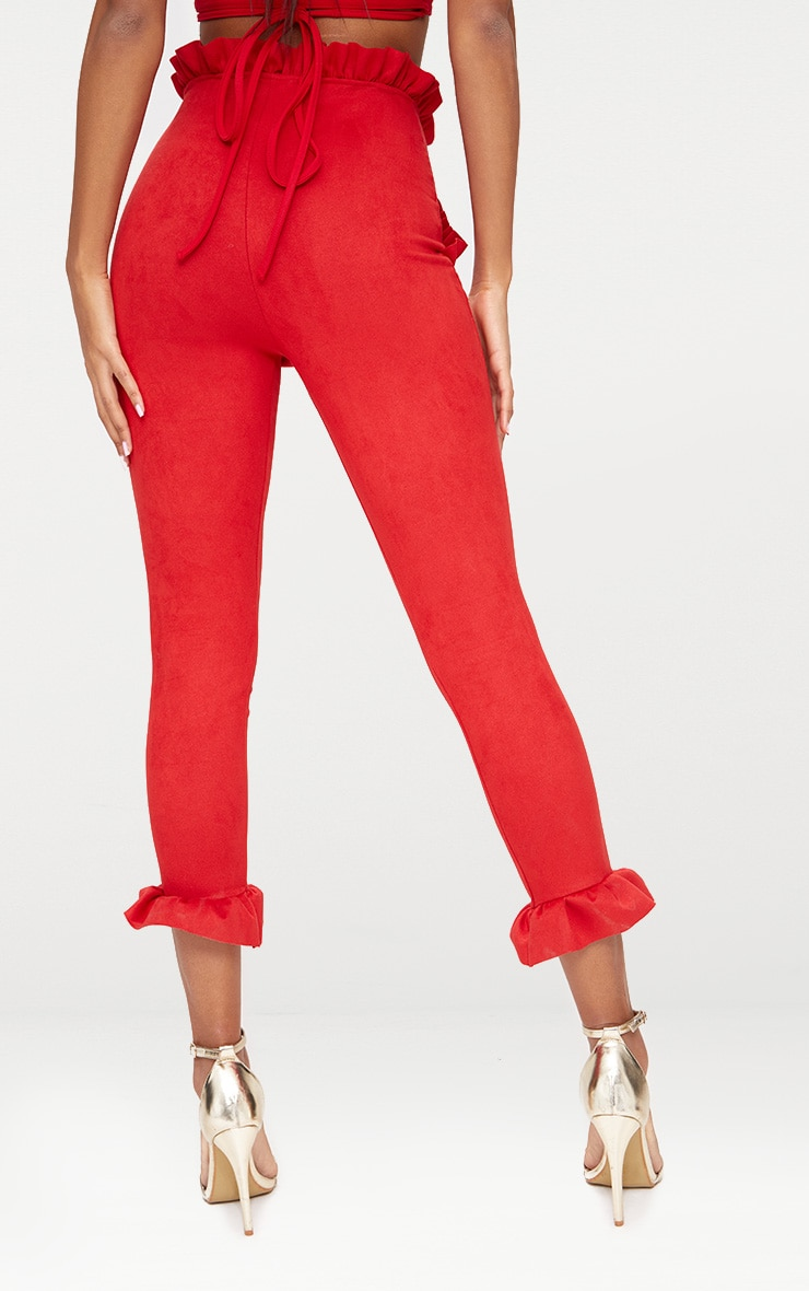 Red Faux Suede Frill Trim Trousers 2