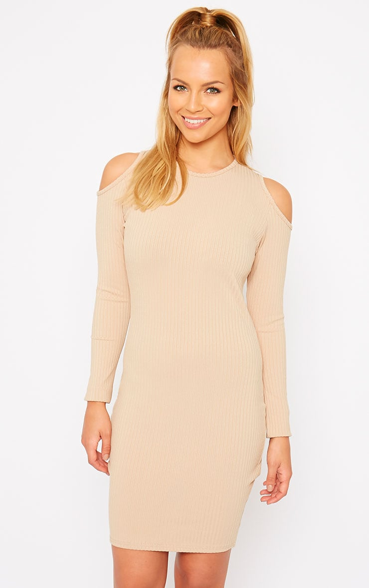 Tocarra Camel Rib Cut Out Shoulder Dress 1