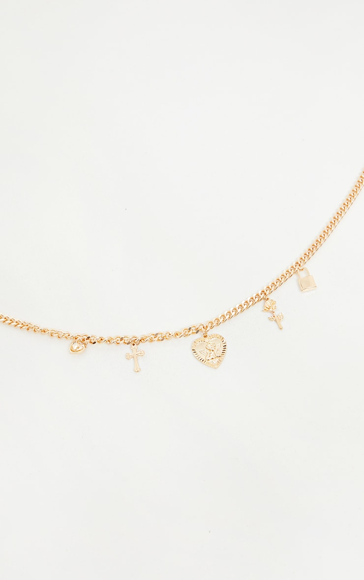 Gold Assorted Pendant Chain Necklace 4