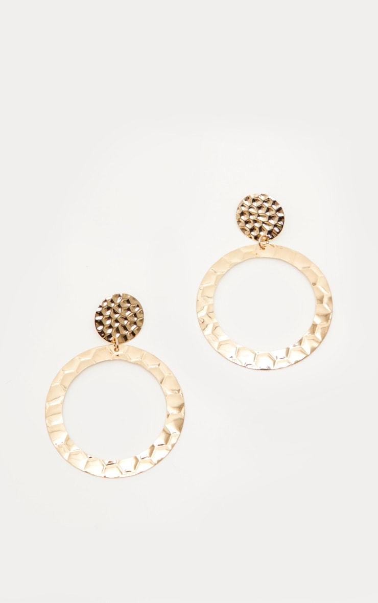 Gold Hammered Hoop Earrings 2