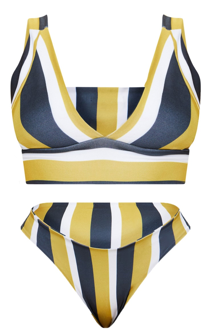 Plus Mustard Striped High Rise Bikini Set  3