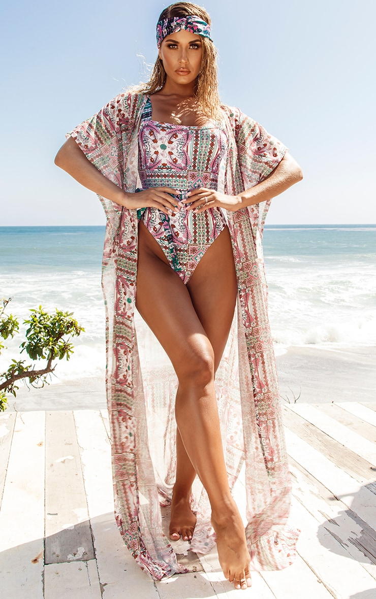 Multi Mosaic Print Belted Swimsuit 4