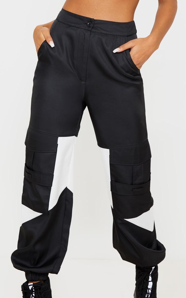 Black Cargo Contrast Pocket Trouser 6