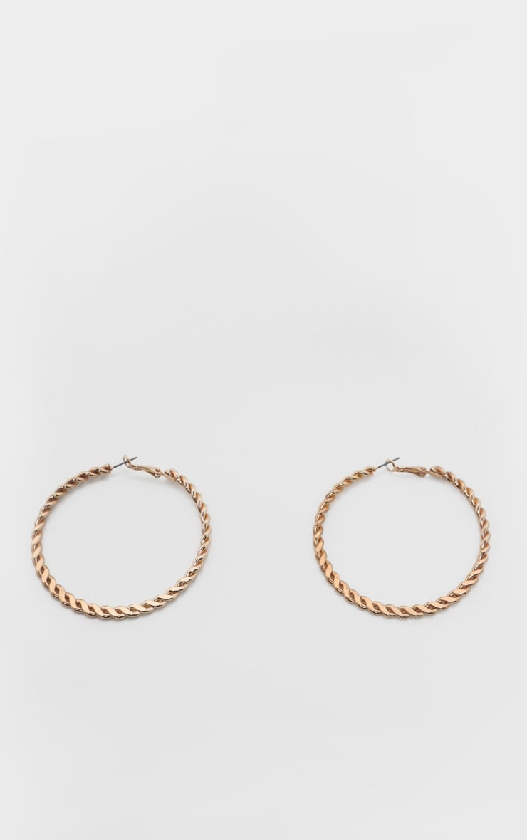 Gold Plait Effect Medium Hoop Earrings 2