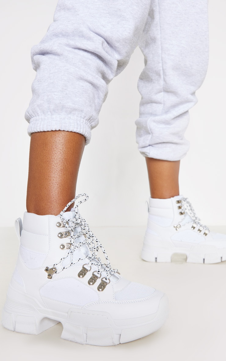 White Lace Up Cleated Sole Hiker Boot 2