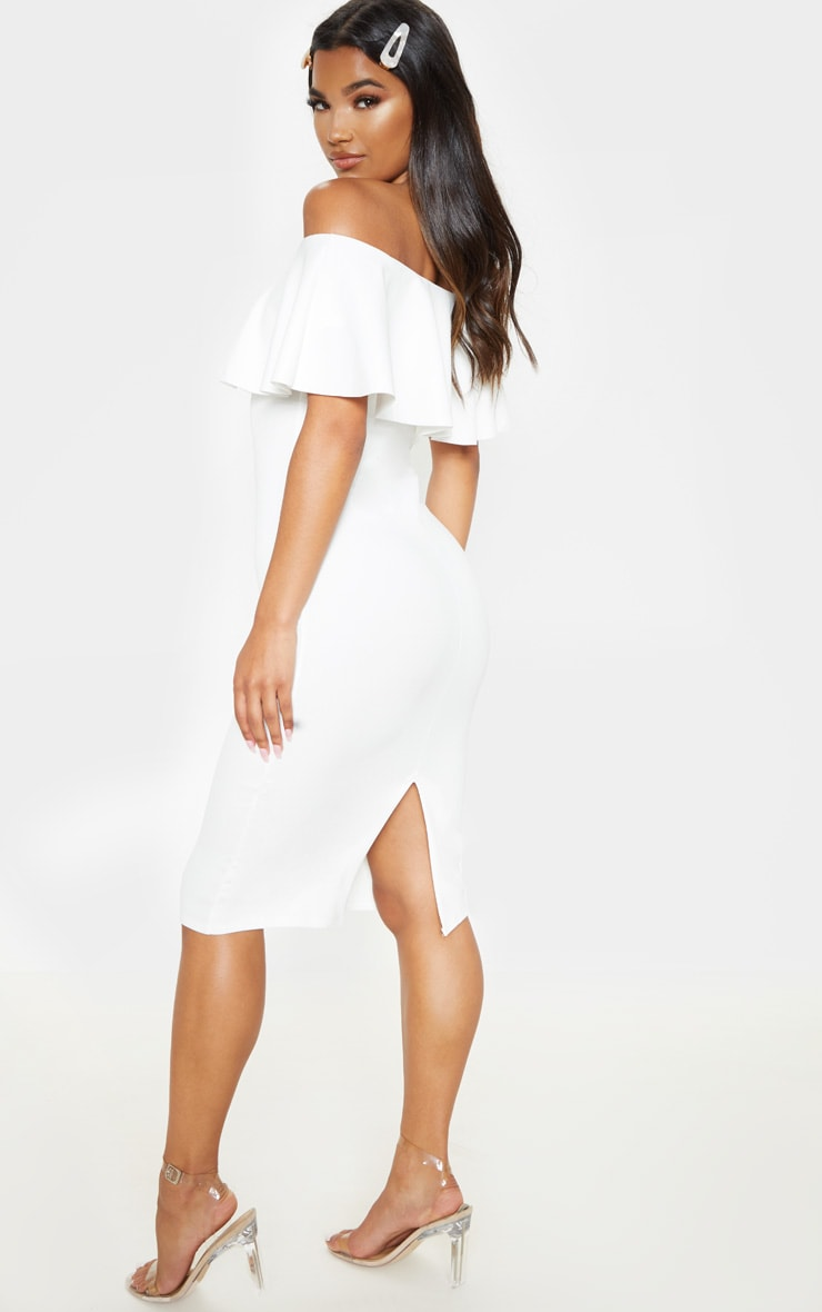 Celinea White Bardot Frill Midi Dress 3