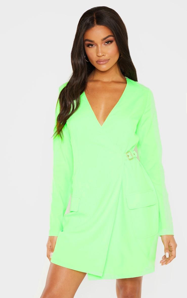 Neon Lime Utility Blazer Dress  1