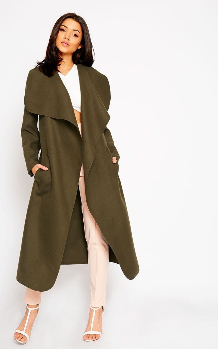 Veronica Dark Khaki Oversized Waterfall Belt Coat 1