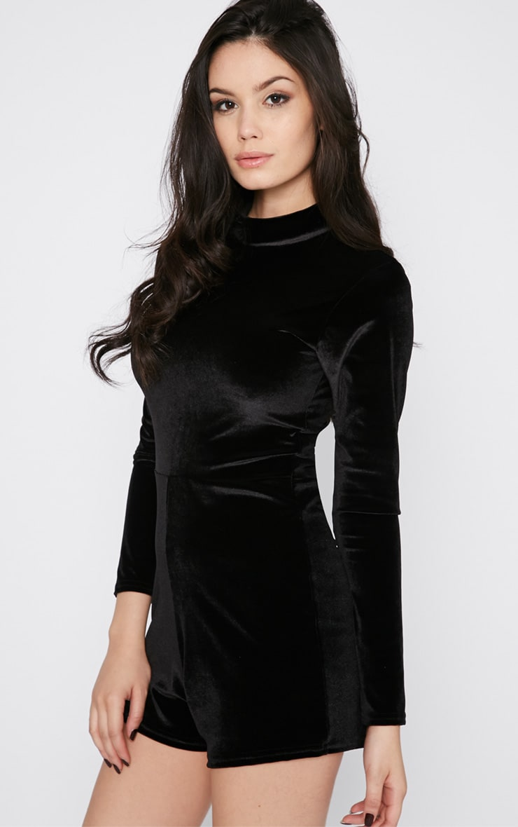 Sylvie Black Velvet Playsuit  4
