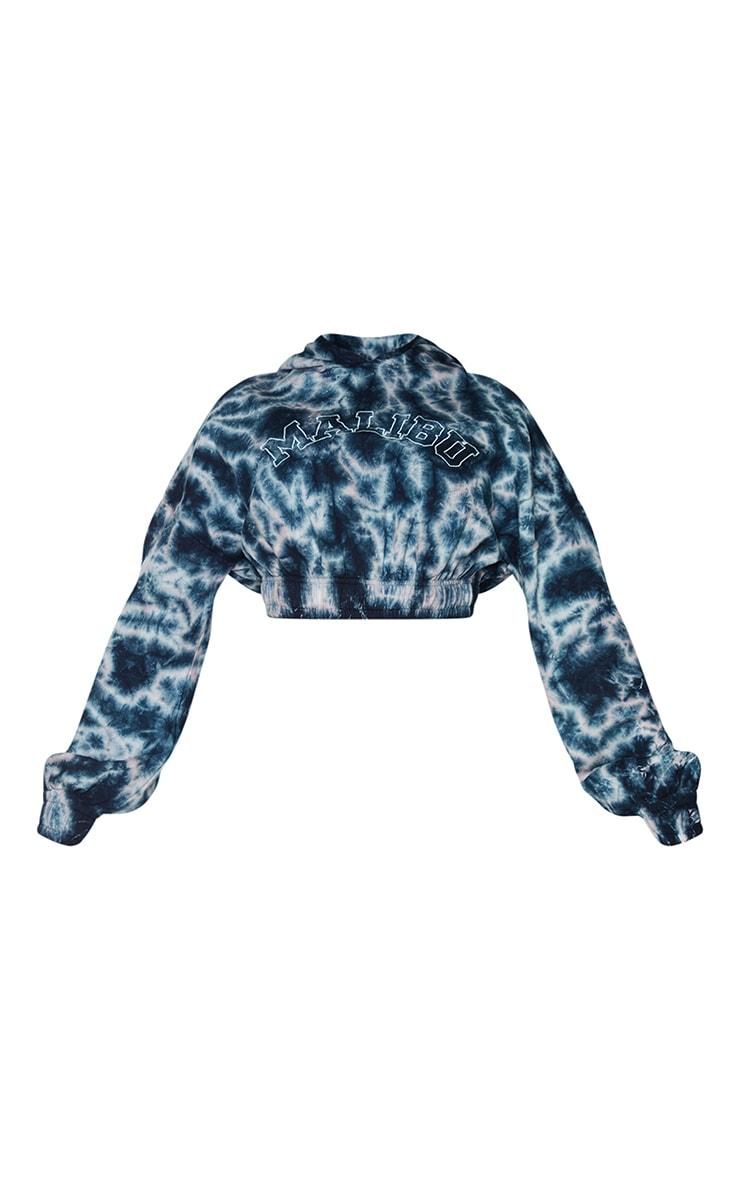 Shape Blue Tie Dye Malibu Embroidered Cropped Hoodie 5