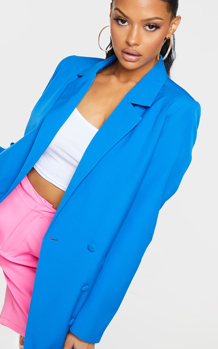 Bright Blue Double Breasted Covered Button Blazer 4