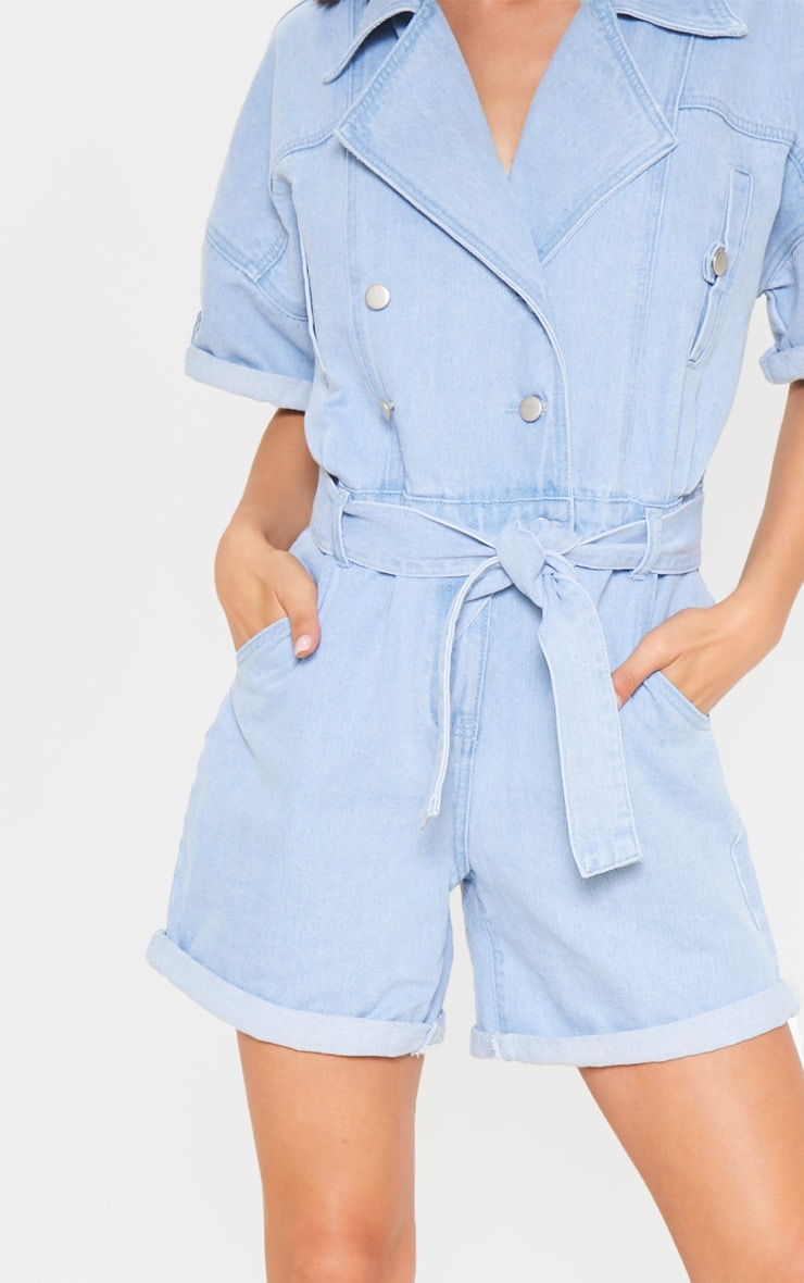 Blue Popper Detail Tie Waist Denim Romper 5