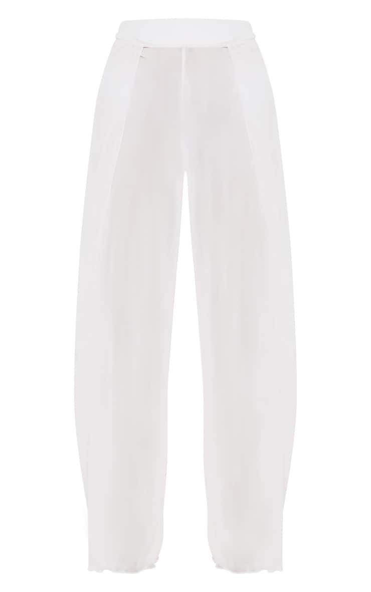 White Mesh Split Beach Trouser 3
