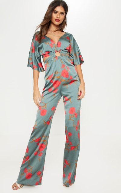 9aa9918afd46 Sage Green Floral Ring Detail Cut Out Jumpsuit