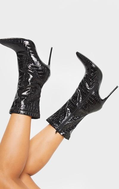 Black Croc Point Toe Sock Boot