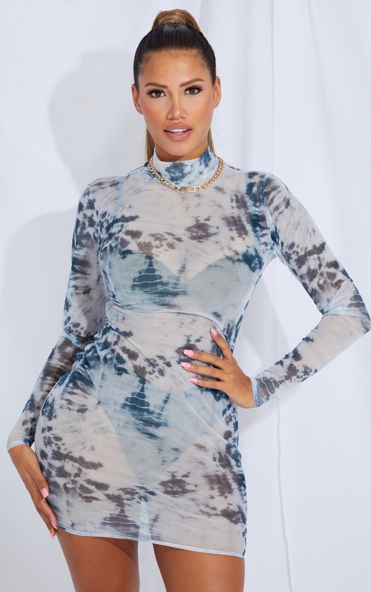 Shape Blue Tie Dye Sheer Mesh High Neck Bodycon Dress 1