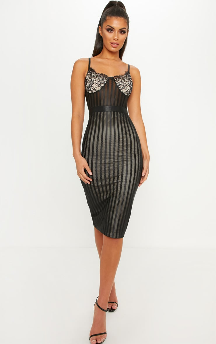 Black Lace Detail Striped Mesh Midi Dress 2
