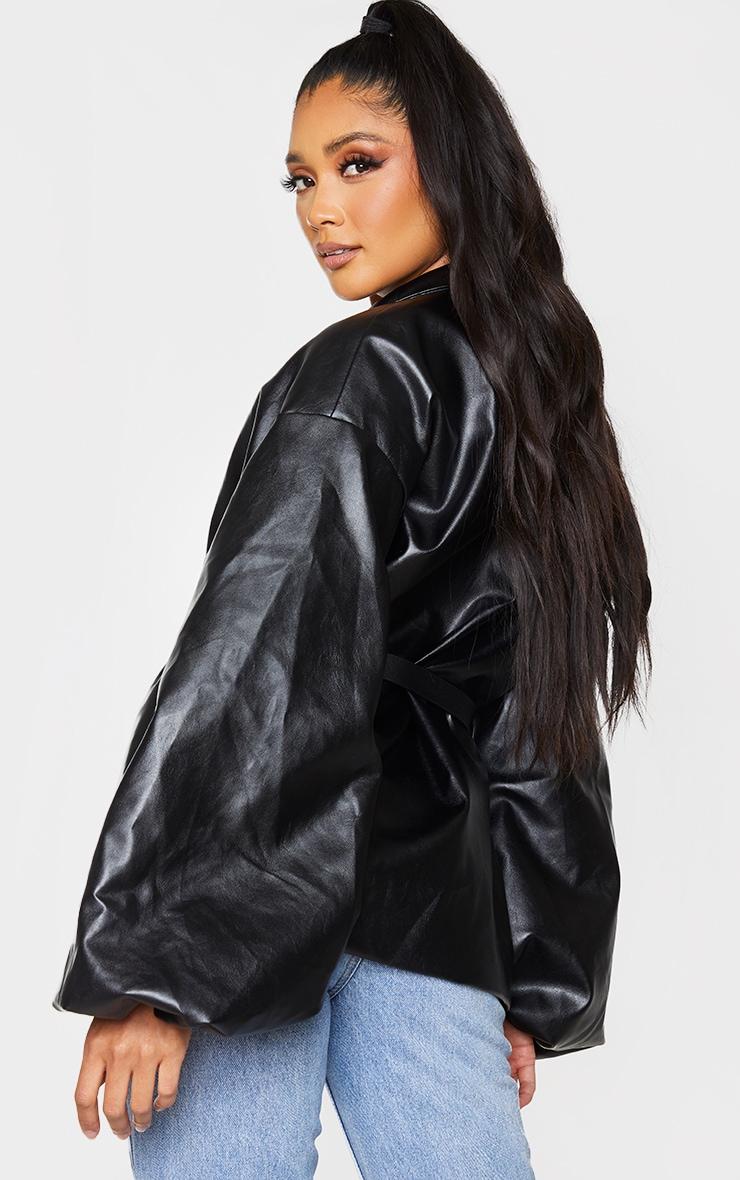 Black PU Puff Sleeve Belted Blazer 2