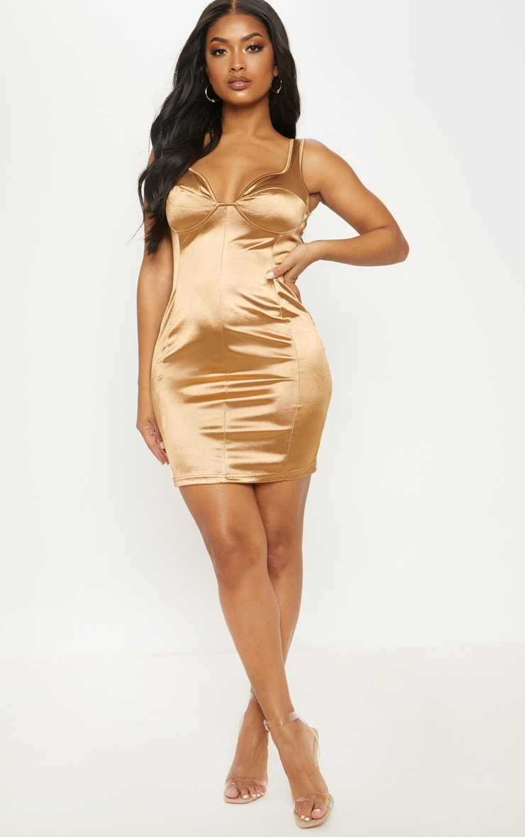 Shape Mocha Satin Bust Cup Seam Detail Bodycon Dress 4