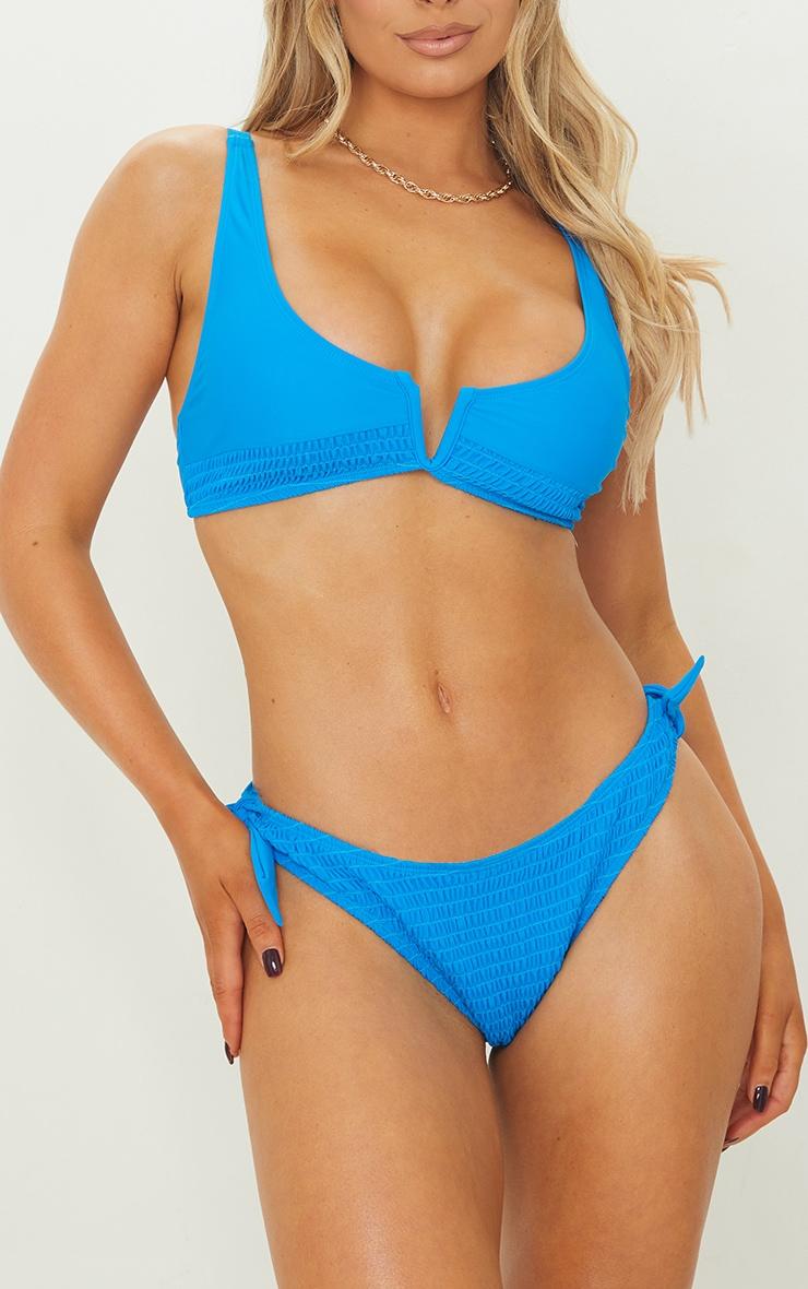 Blue Smocked Tie Side Bikini Bottoms 1