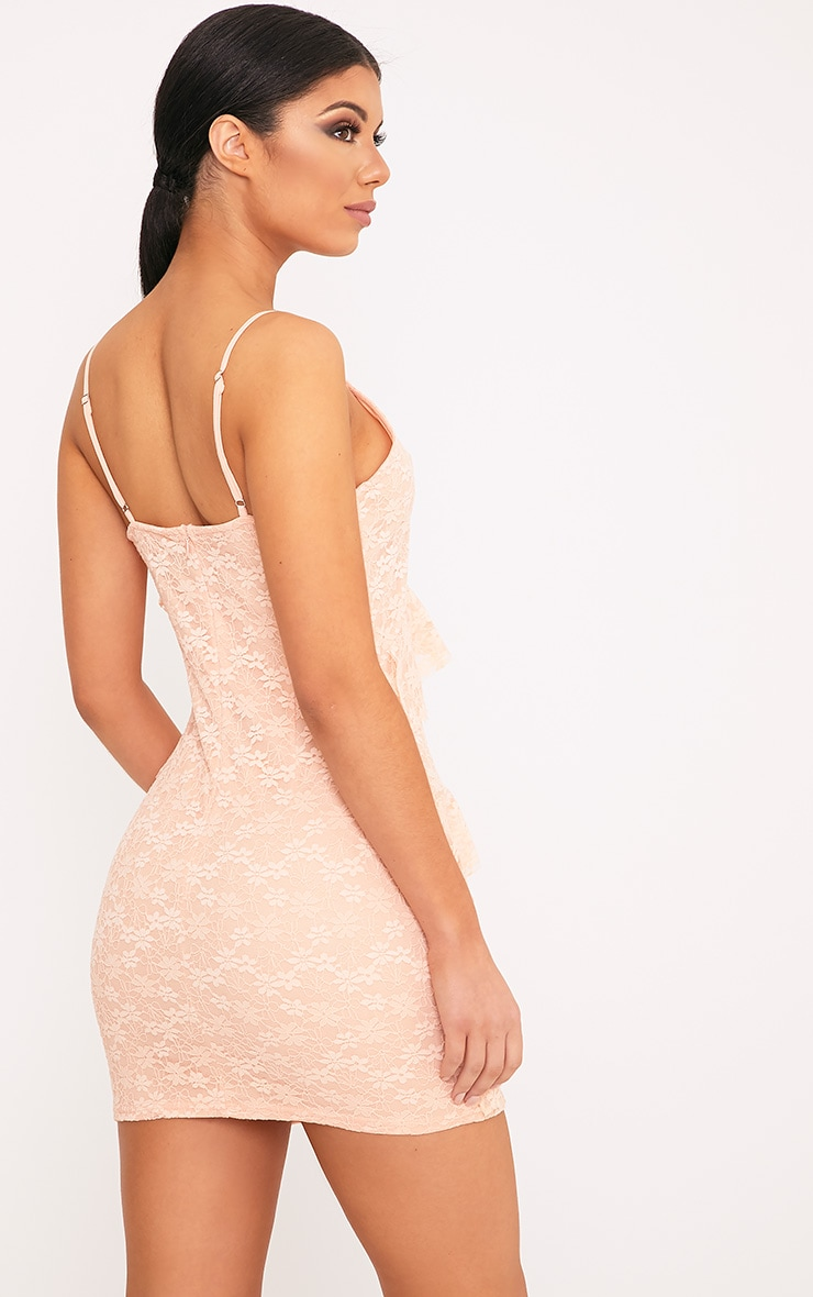 Brittany Blush Strappy Lace Frill Bodycon Dress 2