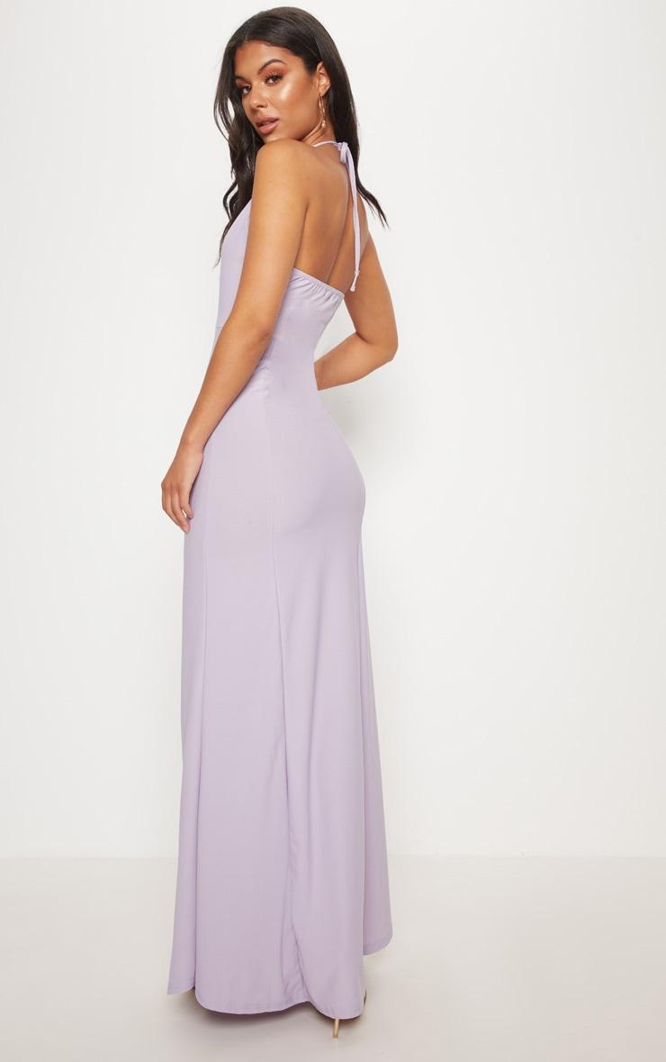 Lilac Halterneck Fishtail Maxi Dress 2