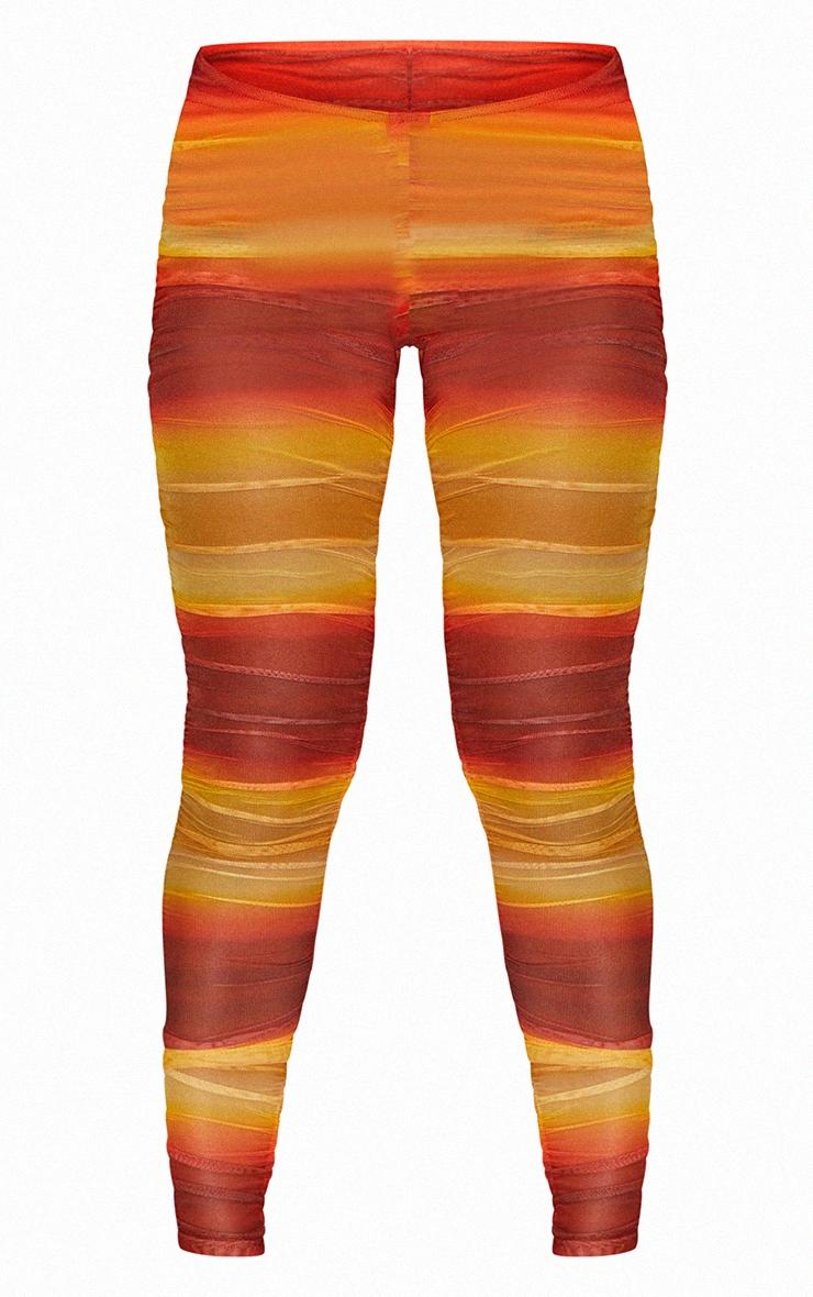 Orange Ombre Print Sheer Mesh Ruched Side Panel Leggings 5