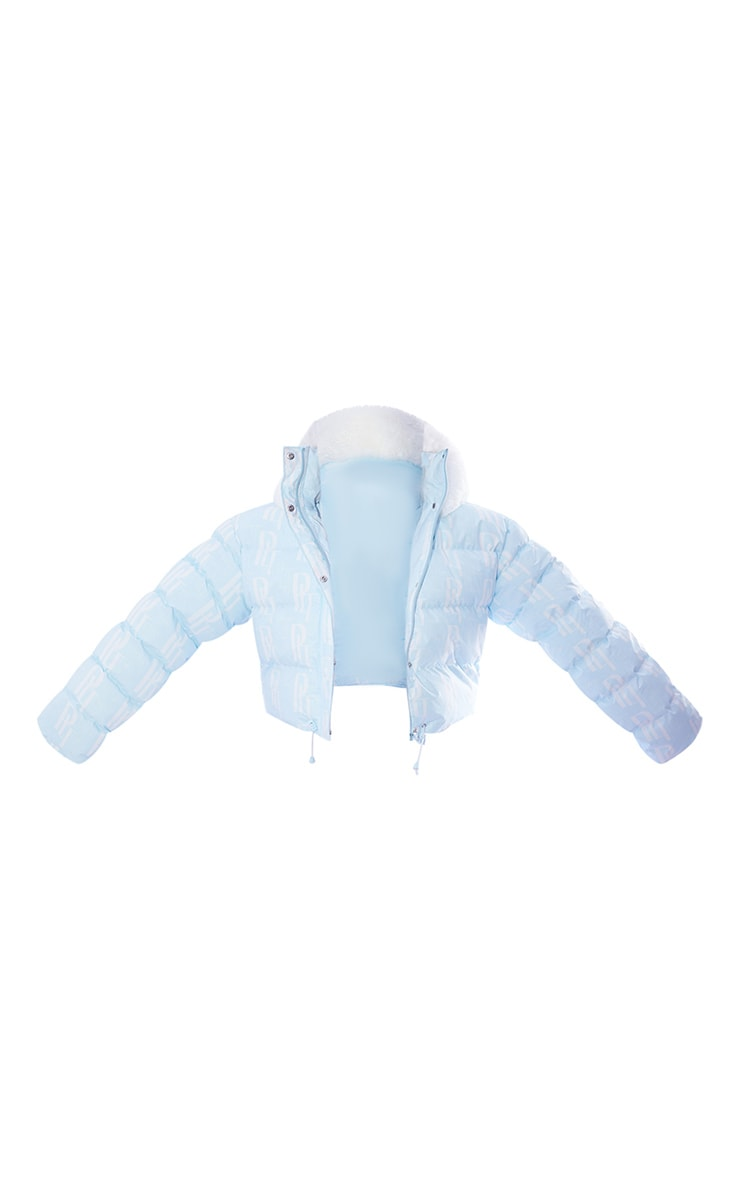 PRETTYLITTLETHING Plus Ski Pastel Blue Faux Fur Hooded Cropped Puffer Coat 5