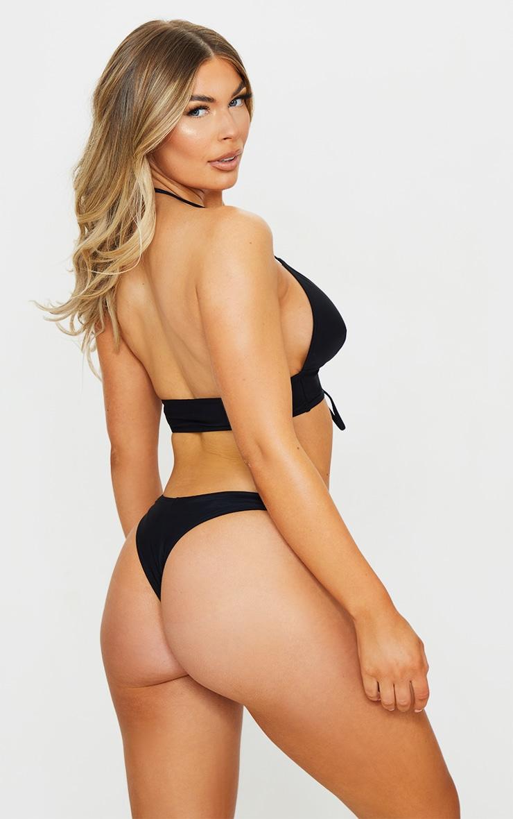 Recycled Black Fabric Lace Up Plunge Bikini Top 2