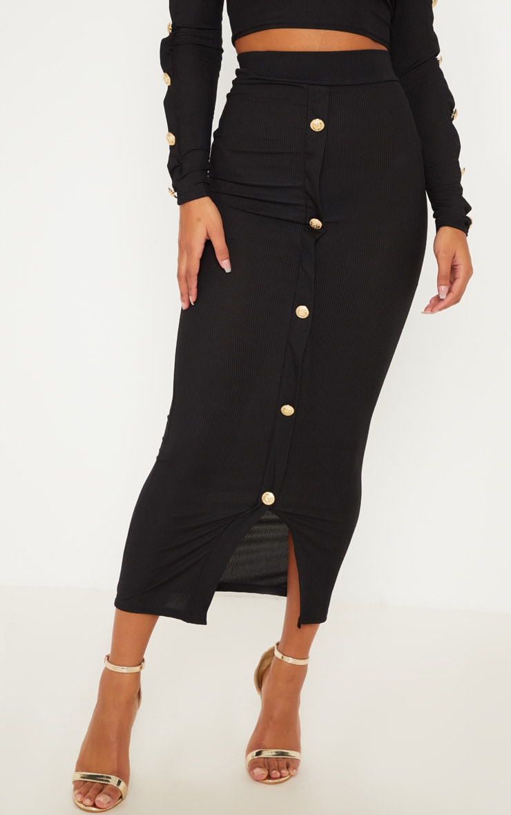 Black Rib Bardot Button Detail Crop Top & Midaxi Skirt Set 2