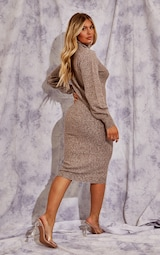 Recycled Mocha Knitted Roll Neck Midaxi Dress 2