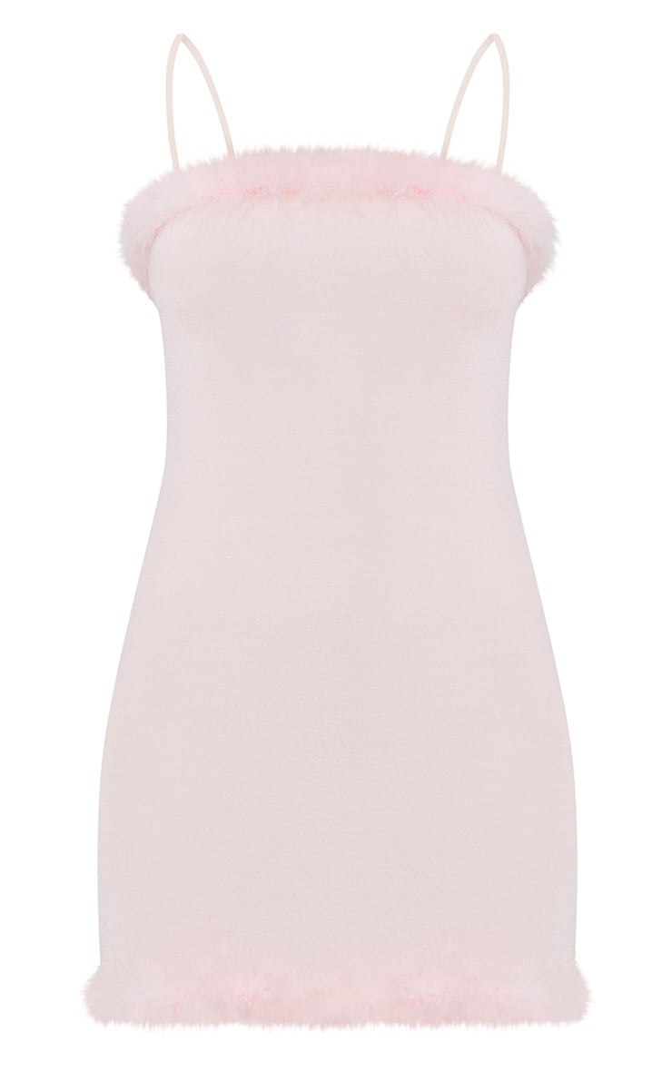 Pale Pink Slinky Feather Trim Bodycon Dress 3