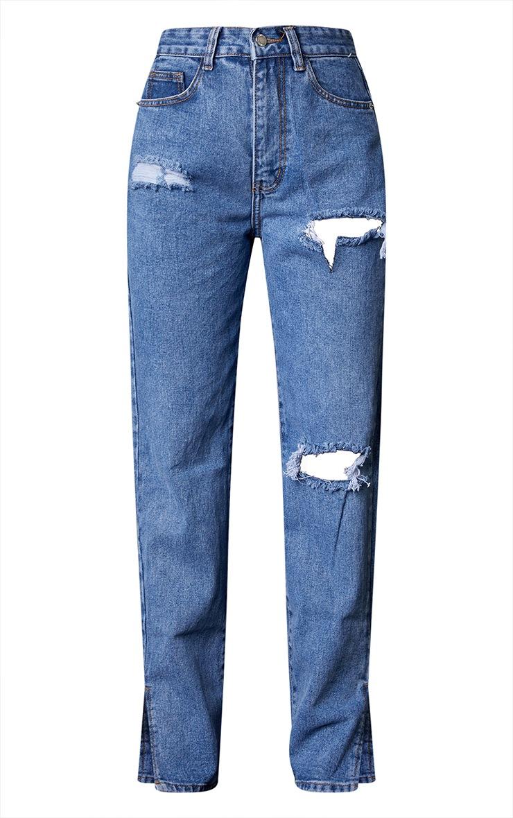 Petite Mid Blue Wash Ripped Split Hem Jeans 5