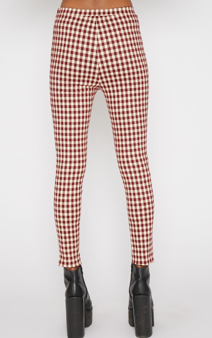 Libby Red Checked Skinny Trouser 2