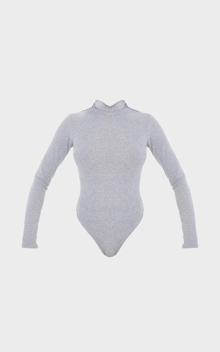 Tall Grey Brushed Rib Roll Neck Long Sleeve Bodysuit 5