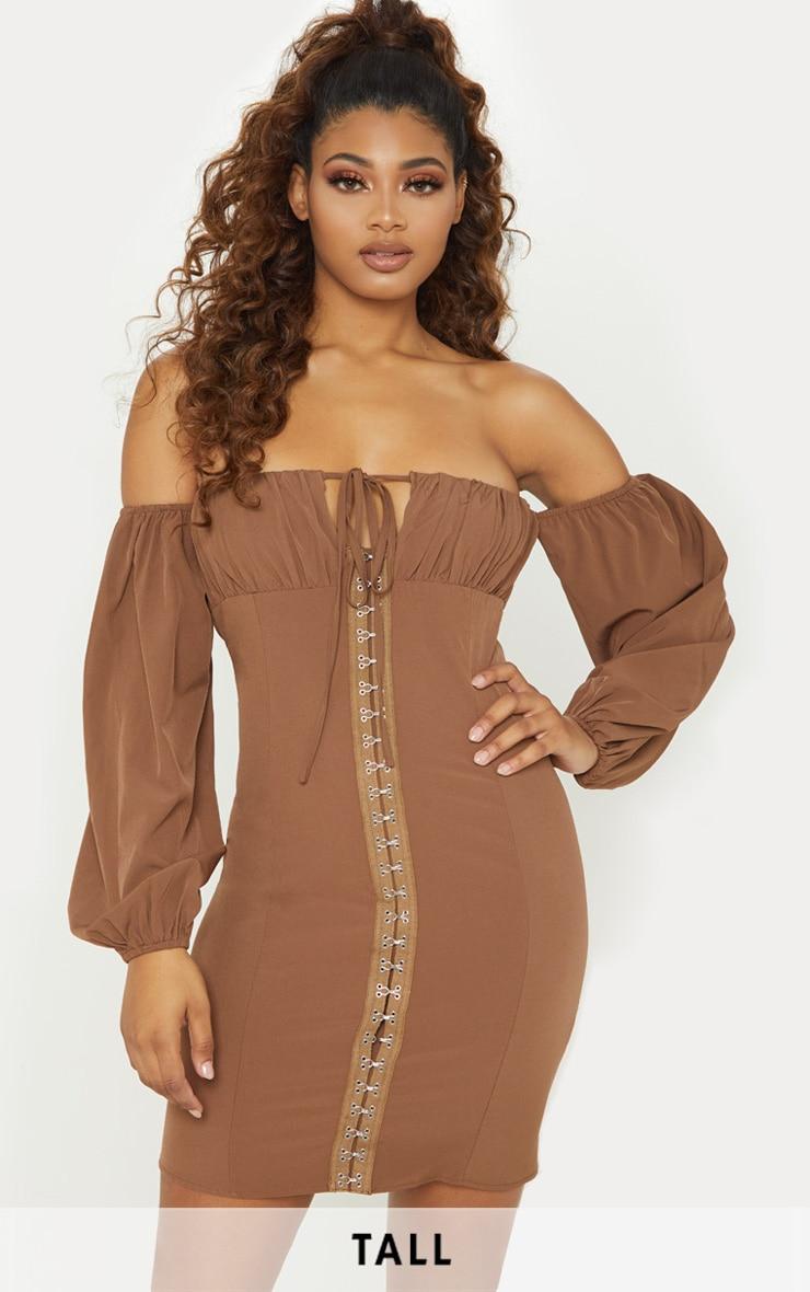 Tall - Robe moulante marron chocolat à manches ballon et oeillets 1