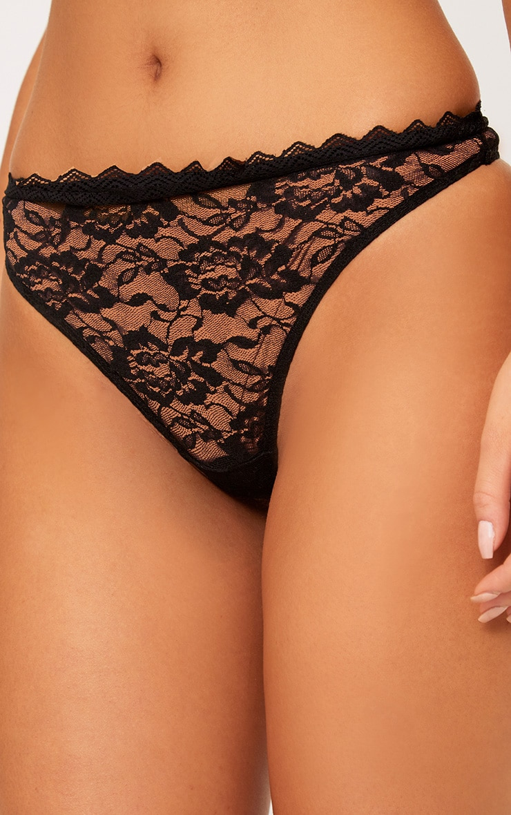 Zerlina Black Lace Thong 5