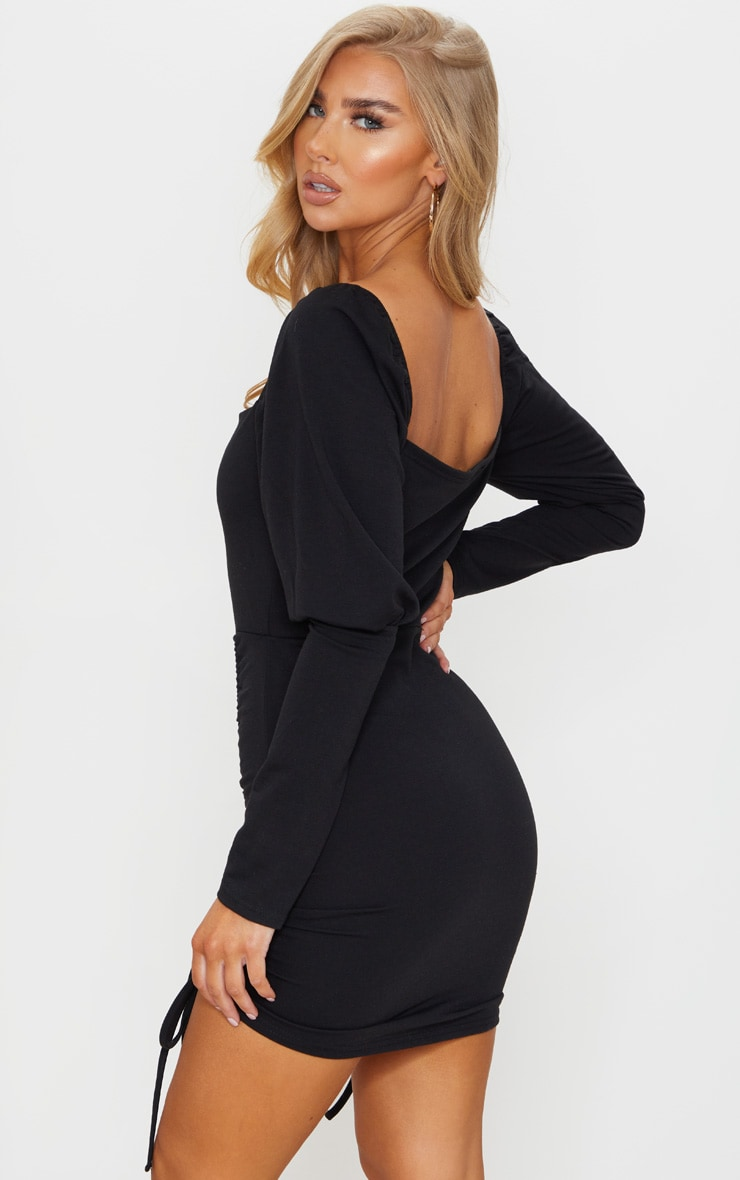Black Sweat Puff Sleeve Ruched Bodycon Dress 2