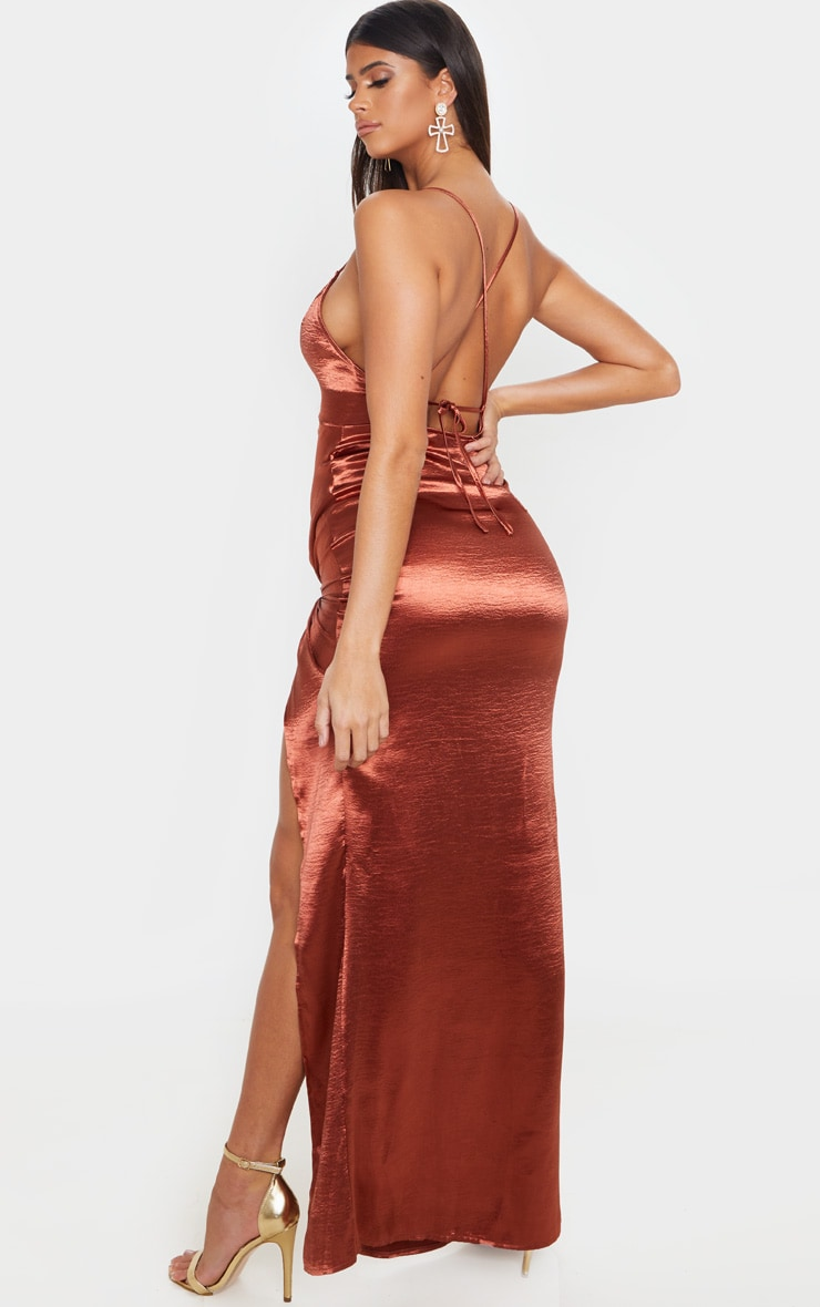 Copper Satin Twist Detail Split Front Maxi Dress 2
