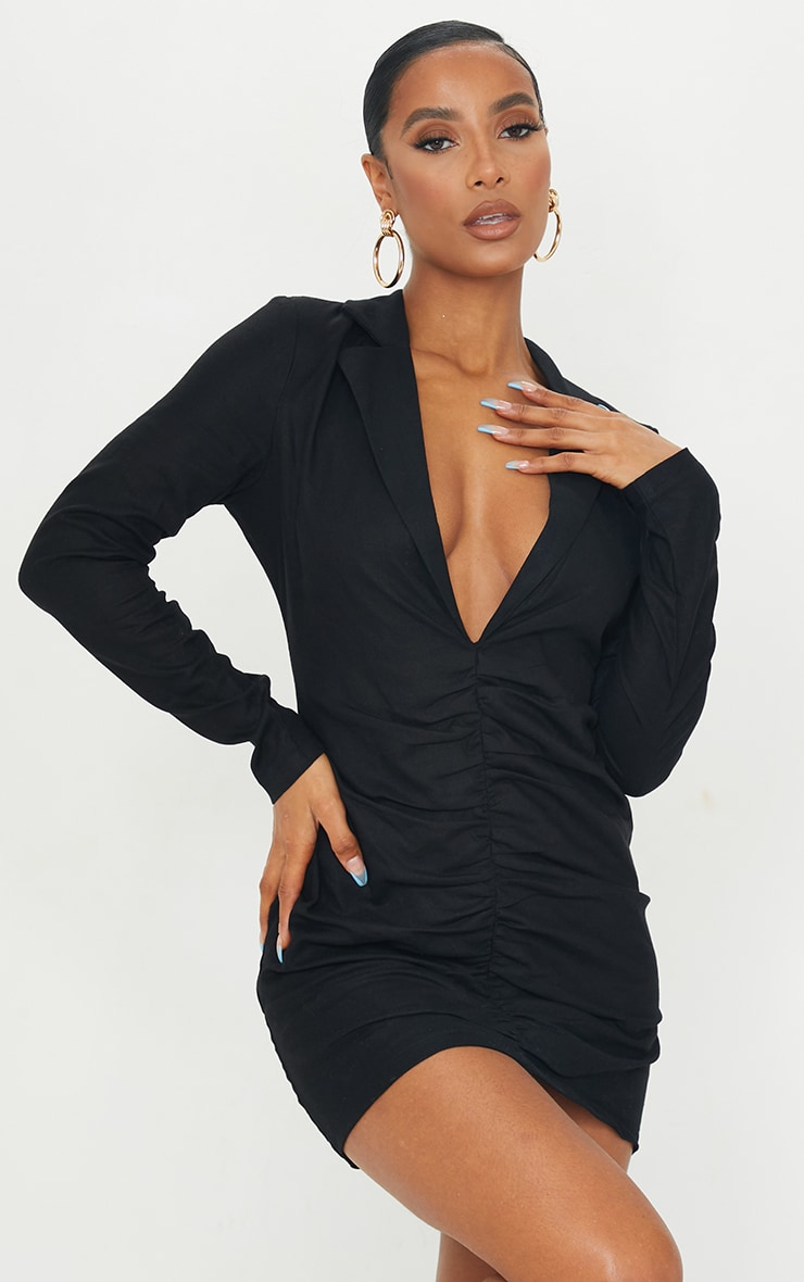 Black Plunge Ruched Front Blazer Dress 1