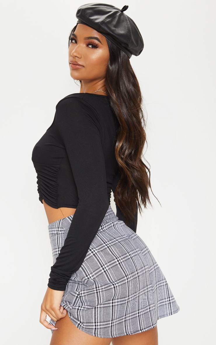 Black Jersey Ruched Front Long Sleeve Crop Top 2