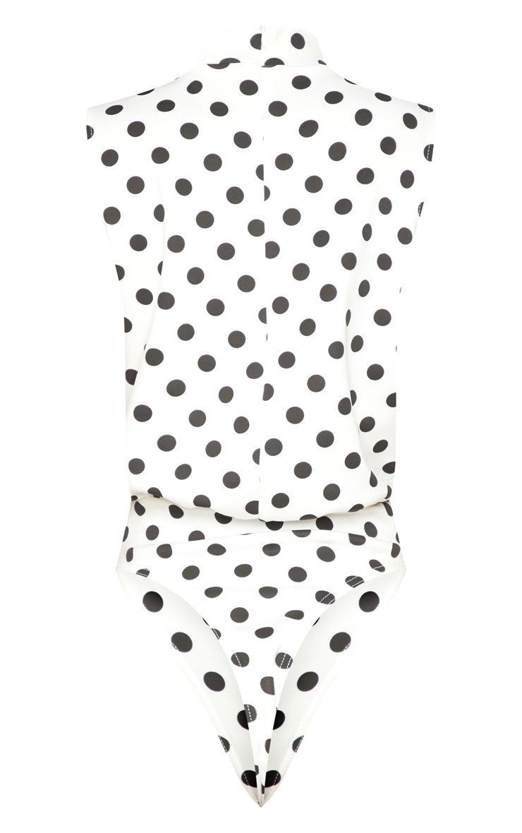 White Polka Dot Sleeveless High Neck Bodysuit 4