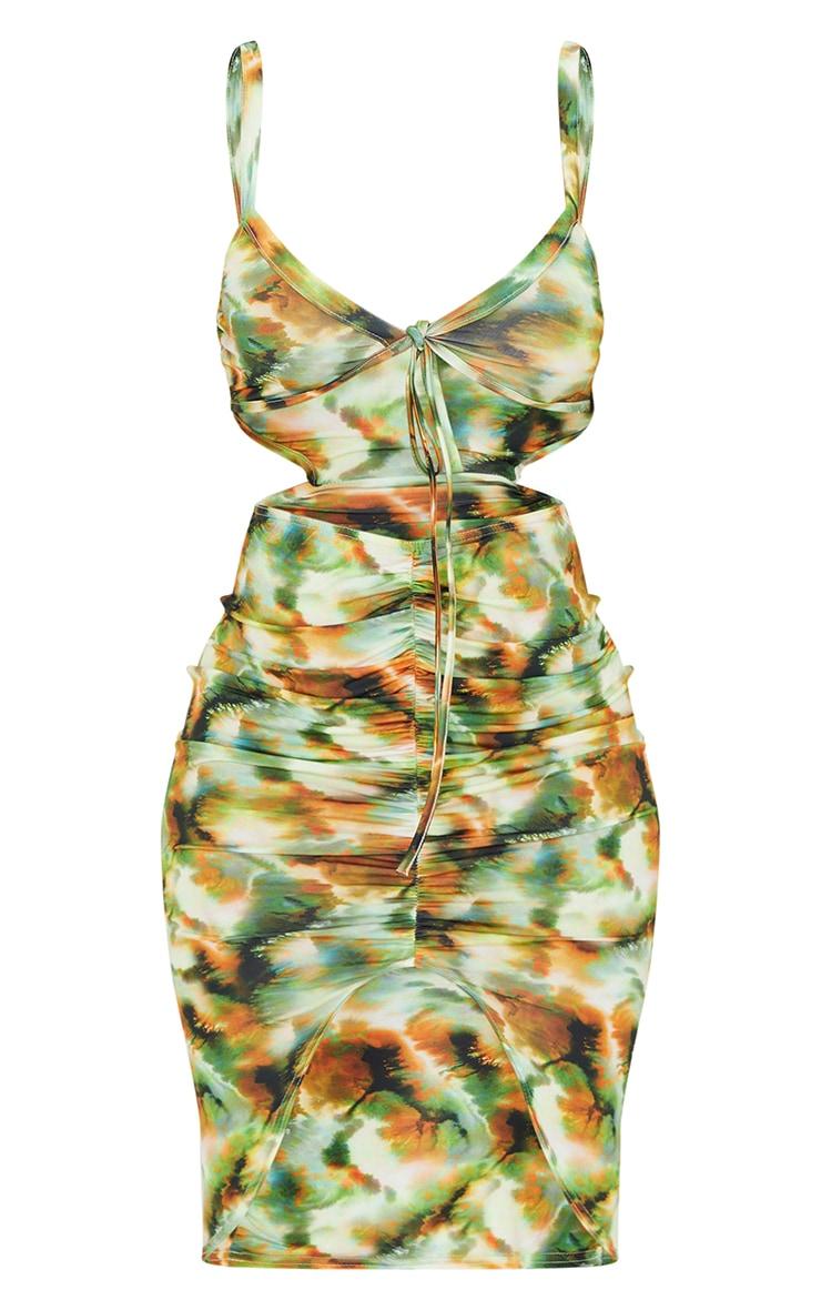 Green Tie Dye Print Slinky Tie Bust Ruched Bodycon Dress 5