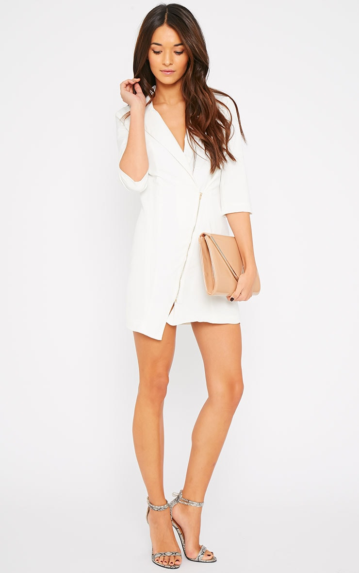 Maryam Cream Longline Asymmetric Zip Front Blazer Dress 5