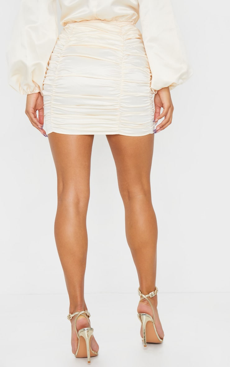 Cream Ruched Panel Mini Skirt 4