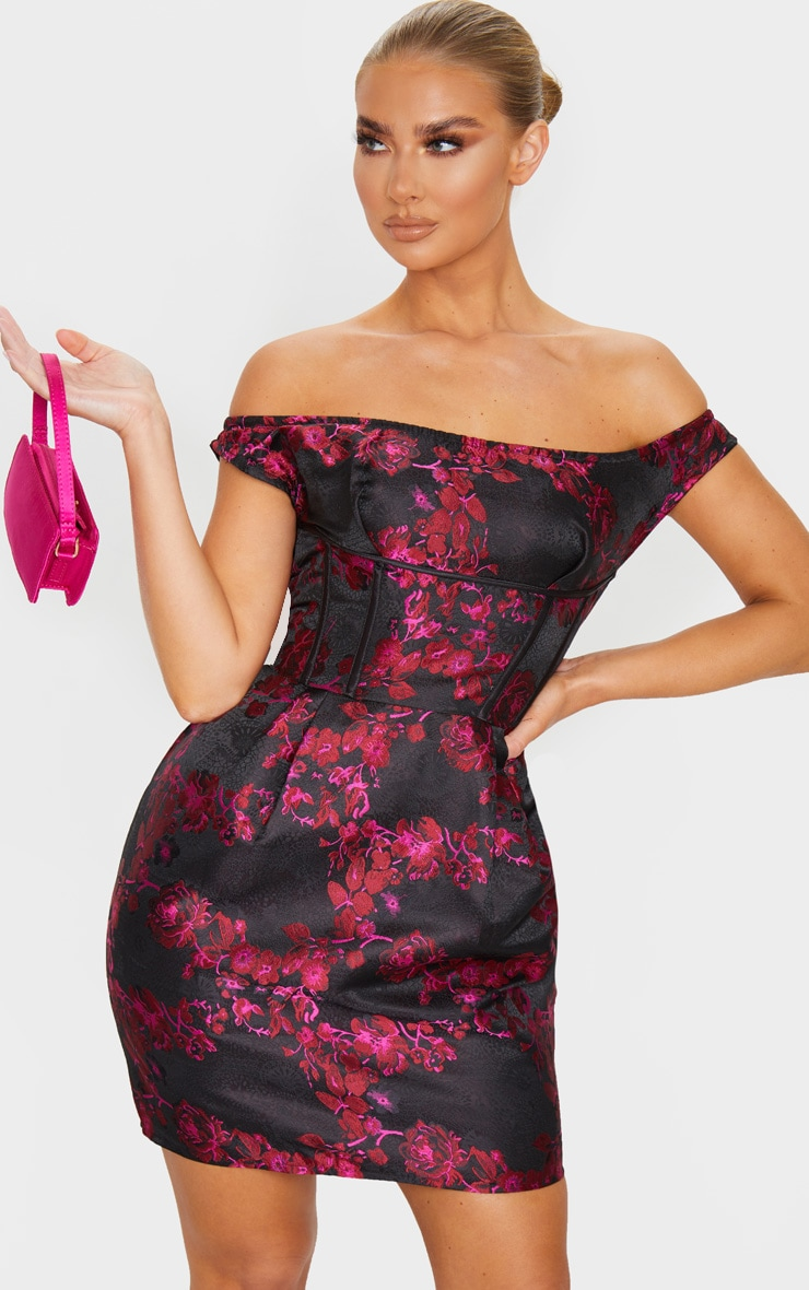 Black Bardot Jacquard Floral Bodycon Dress 3