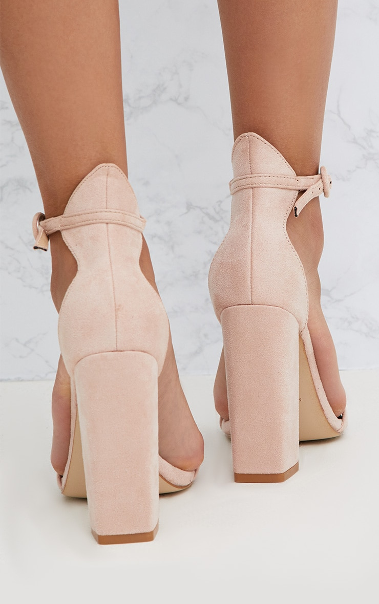 Nude Faux Suede Block High Heeled Sandals 4