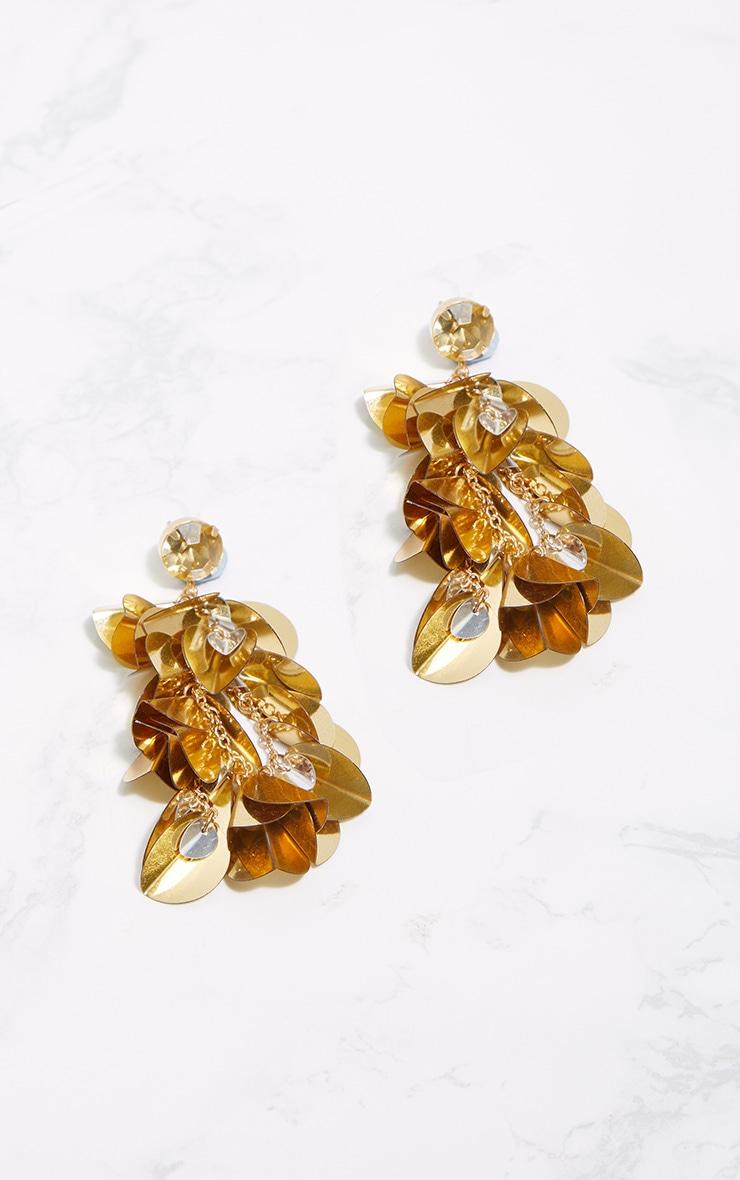 Gold Sequin Drop Earrings 3